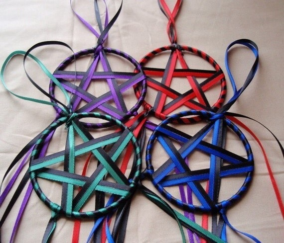 Ribbon Stars - Set of 4 Elemental Colors Red Blue Green Purple and Black Yule or Christmas Ornaments