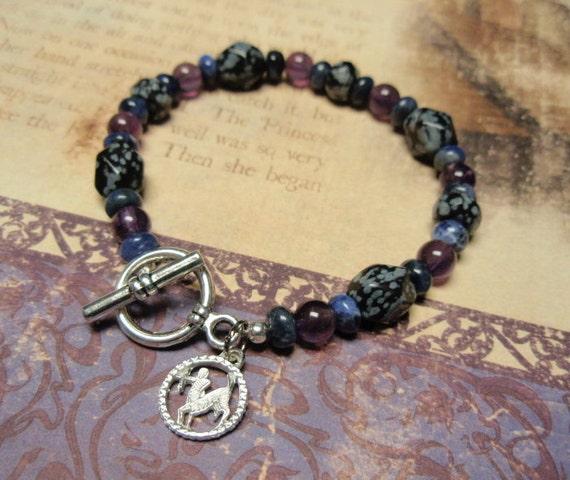 Sagittarius - Zodiac Charm Amethyst Sodalite Snowflake Obsidian Toggle Clasp Bracelet