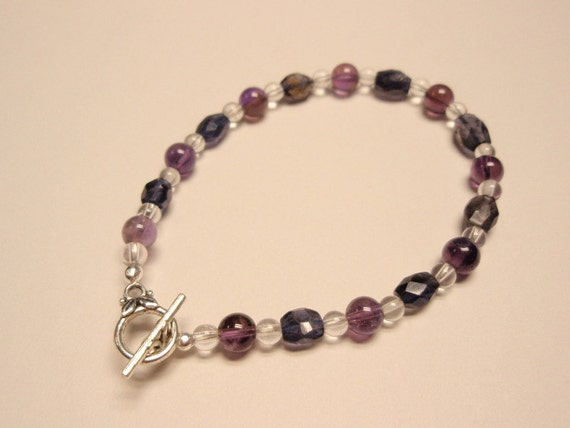 Amethyst Iolite and Clear Quartz Crystal Beaded Gemstone Bracelet - Toggle Clasp