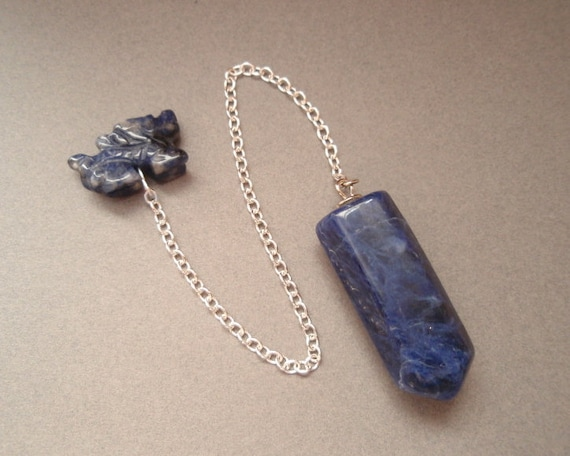 Blue Sodalite Dragon Dowsing Pendulum - Carved Dragon Bead