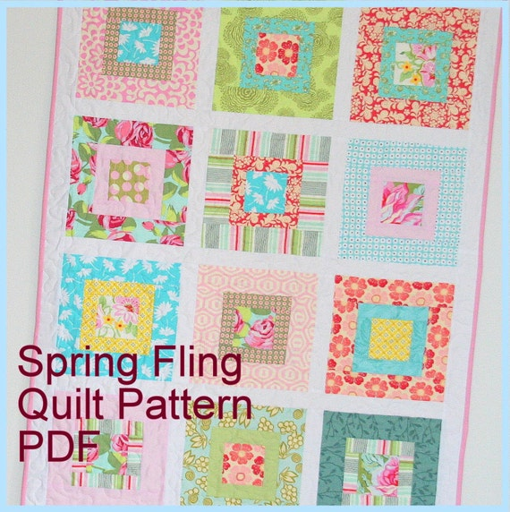 Spring Fling Modern Baby Quilt Pattern and Guide, pdf