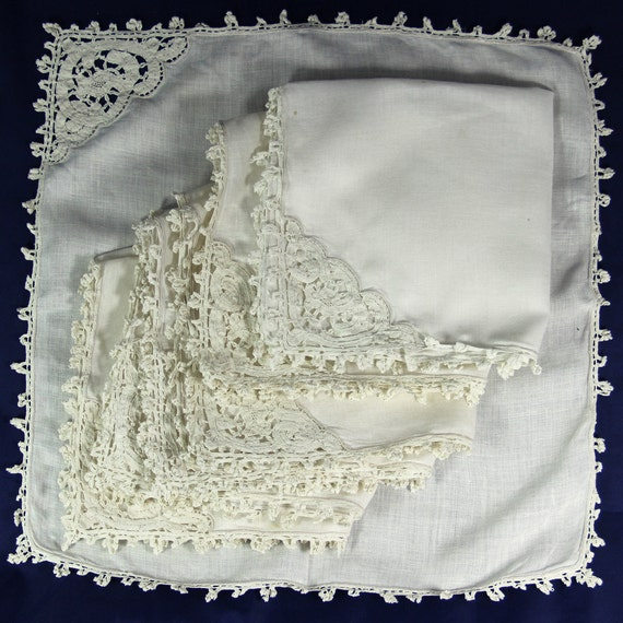 6 Vintage Napkins Serviettes with Elaborate Decoration