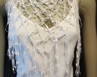 Crochet Ladder Yarn Neck Scarf or Shawl or beach coverup Pattern