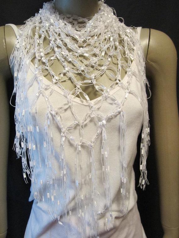 Crochet Ladder Yarn Neck Scarf Or Shawl Or Beach Coverup