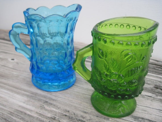 2 Vintage Shabby Chic Sea Glass Colored Mini Pitchers