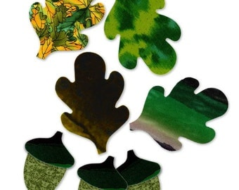 Oak Leaves and Acorns Fusible Fabric Cotton Appliques Quilting Sewing Collage Die Cut