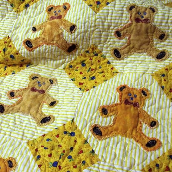 Quilt Teddy Bear Cozie Baby Blanket Cotton Organic Bamboo Batting