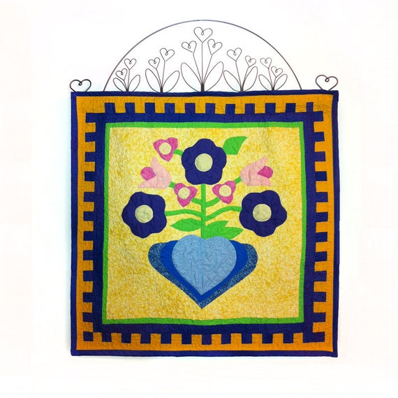 Quilted Folk Art Appliquéd Hearts and Flowers Wall Decor