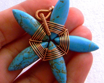 Turquoise Starfish Pendant in copper selling now at half the original price
