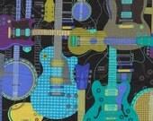 Michael Miller Jam Session BLACK Cotton Quilting Fabric Half Yard - CX4389 Guitar Music Guitars