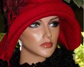 Flapper Hat Cloche Red Wool Felt Roaring20s