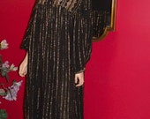 Vintage 80-90s Gypsy Dress Black Gold   Size n/a