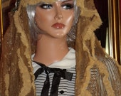Church Aristocratic Wrap Mantilla Veil French style Brown  Lace Millinery Floral Ruffle