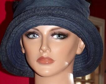 1920s Hat Flapper Cloche Daytime Derby  Church Hat Cloche Tea Party  Navy