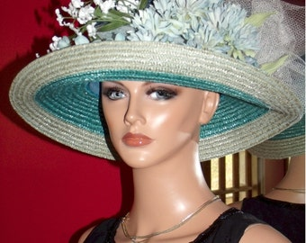 Summer Hat  Derby Hat Church Hat Tea Garden Party Hat Wedding Wide Brim Floral