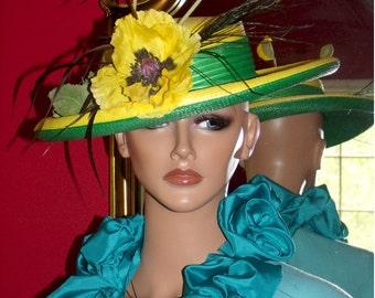 Church Hat  Derby Tea Garden Party Hat Wedding Handmade Wide Brim Floral
