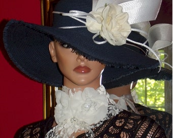 Summer Hat Wide Brim Navy Church Hat Derby Tea Party Wedding w/Bow