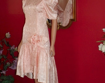 Vintage Handmade Dress Peach Evening Holiday