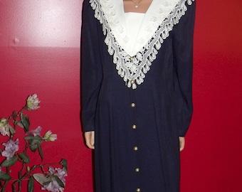 Flapper Dress Vintage 70s  does Office Lady Teacher Navy  Victorian Collar Size 14