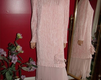 Vintage Flapper Dress Pink Rose  Pierre Labiche does Holiday Evening Size 16