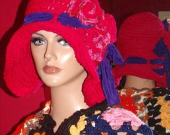 1920s Flapper Hat Cloche Crochet Handmade Millinery  Hot Pink