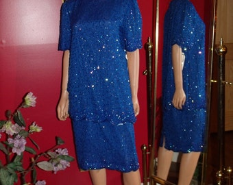 Vintage Flapper Dress  Art Deco  Beaded  Blue Exclusive of ornamentatuion  does 20-30sSize L