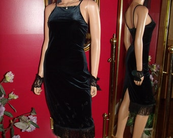 Black Velvet Flapper Dress  Fringe does Evening Tea Party Roaring 20 Theme Size S