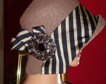 Flapper Hat Cloche Hat Dark Taupe Velvet 1920 style Hat Millinery Floral