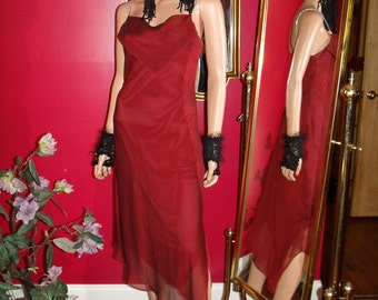 Vintage Tea Party Holiday  Red  Flapper Dress Art Deco   Size 9-10