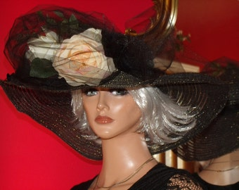 Wide Brim Hat Flapper Hat Cloche Black Millinery Floral Church Hat Tea Smoky Black Gold Metallic