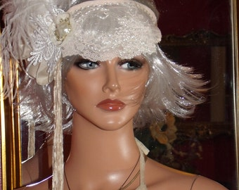 Headband Flapper  Lace Fringe Millinery Floral Feather Mini Hat  Wedding 20 sTheme