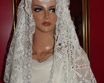 Wedding Antique Style  Crochet Veil Church Aristocratic  Wrap  Vintage theme Wedding  Church Mantilla Veil