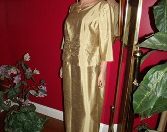 Vintage Maggy London  Holiday  Golden Flapper Dress   does 20-30style Size 14WP