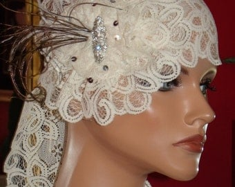 Wedding Flapper Headband Antique White Lace  1920 style