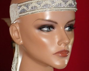 Wedding Flapper Headband Antique White Lace  Exclusive applique 1920 style band