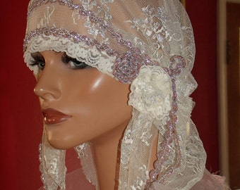 Wedding Flapper Hat Cloche Hat 1920 style Bridal Antique  White Silver Metallic Lace