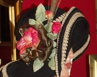 Flapper Hat Derby   Hat Church  Black Wide Brim Wedding Tea Party Millinery Floral