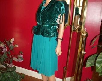 Vintage 2-pc set Short Jacket Dress Flapper does  Kids Roaring   Size 14Child