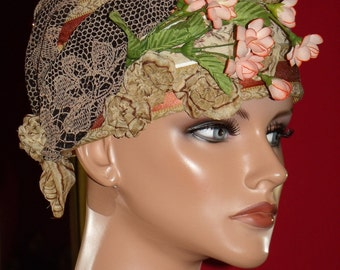 Flapper style hat Church Hat  Derby Flapper Hat Cloche Cap style Millinery Floral Natural Straw