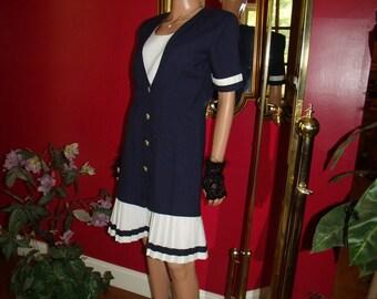 Vintage  Blue Flapper Dress Navy White  Size 7/8