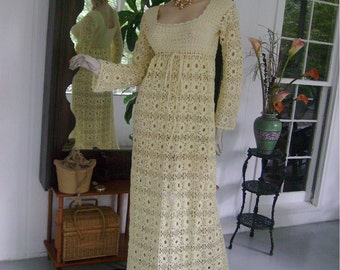 1920s Crochet Lace Dress Pale Yellow M\/L