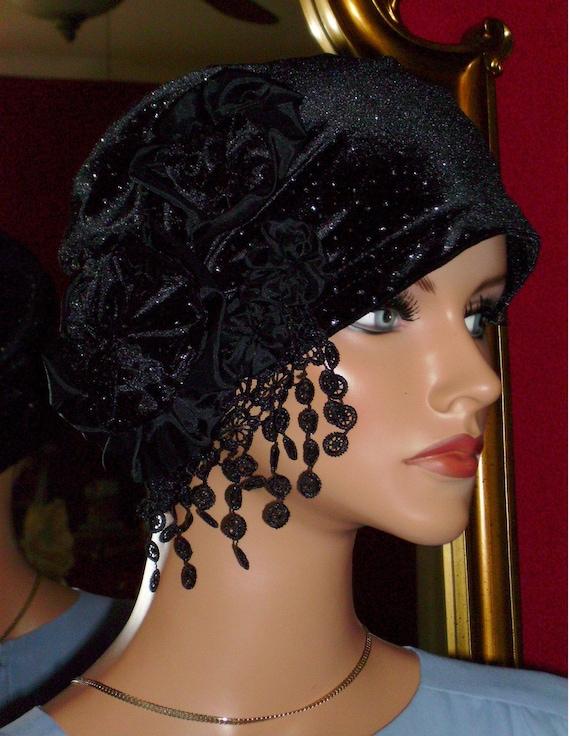 """1920s Flapper Hat Cloche Balck Velvet with sparkles  LudasHat Boutique Size24""""or L"""