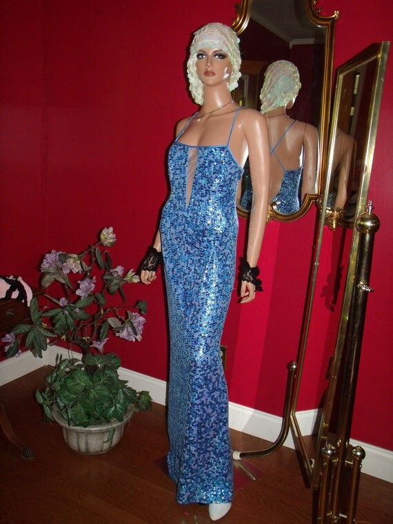 Vintage 80s Papell Boutique  Evening Beaded Flapper Dress  Size 10