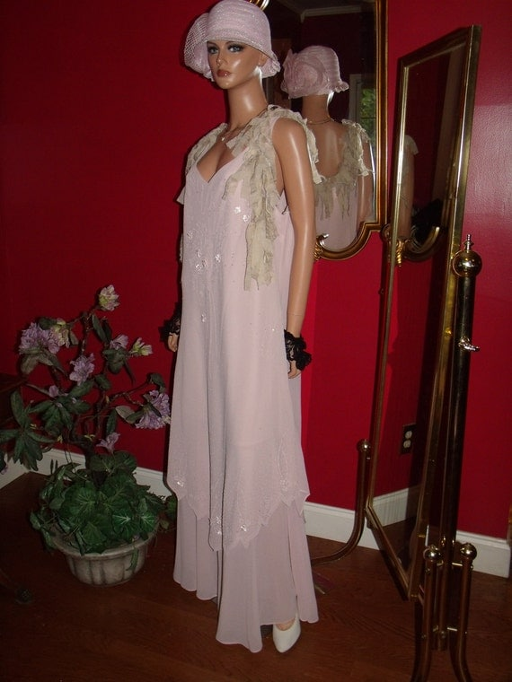 Vintage Dress Flapper Pale pink Rose T Ford does 20-30 style Size  Plus 3X-Large