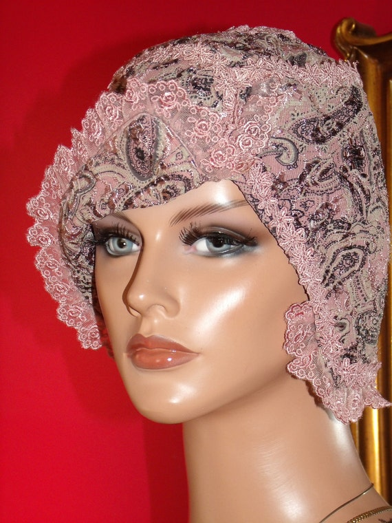 Flapper Hat Cloche Hat  Lace  Boho  High Fashion 1920 style Reserved Listing ---- fabulousbebe----