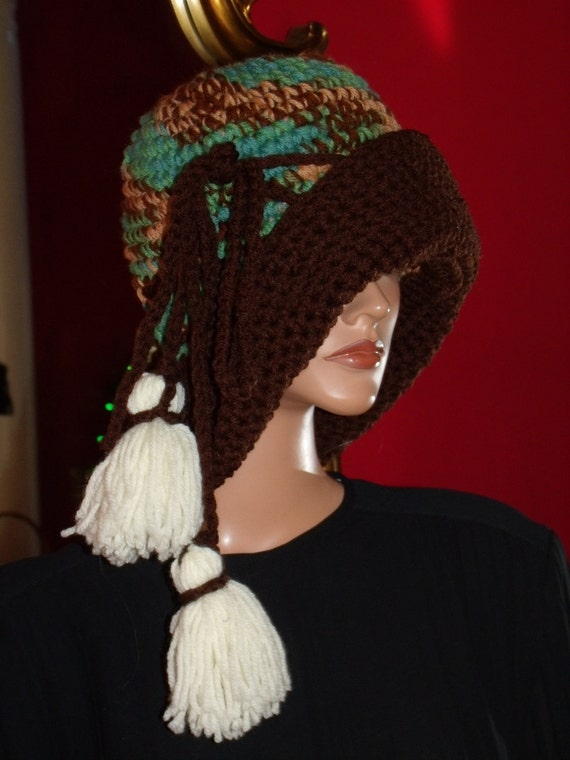 Flapper Hat Cloche Hat Crochet Forest Brown  High Fashion Size L arge 22 up to 25