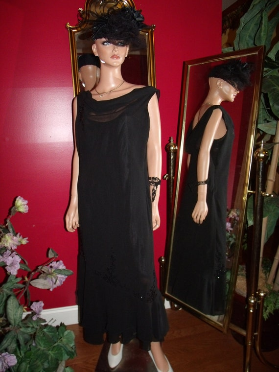 Upcycled  Black Dress Flapper  Evening Tea Party  Size 14W