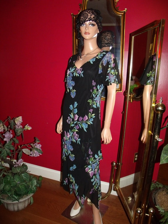 Vintage Flapper Dress90s  Tea party Holiday does  G.Gatsby Size 10