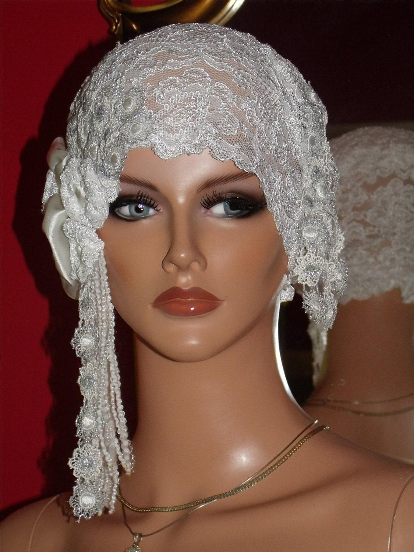 Wedding Flapper Hat Cloche Hat 1920 style Bridal White Silver