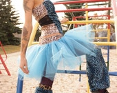 Baby Blue Circus -- DIY Blue LEOPARD LEG-WARMERS And Tulle TUTU SKIRT OOAK